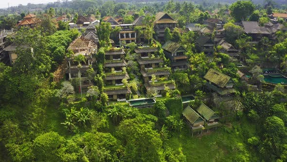 Luxury Villas House with Panoramic View at Jungle, Tropical Rain .