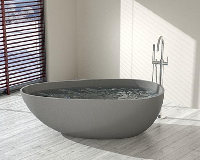 Large Gray Freestanding Bathtub - Model BW-01-L-GRY   Badeloft U