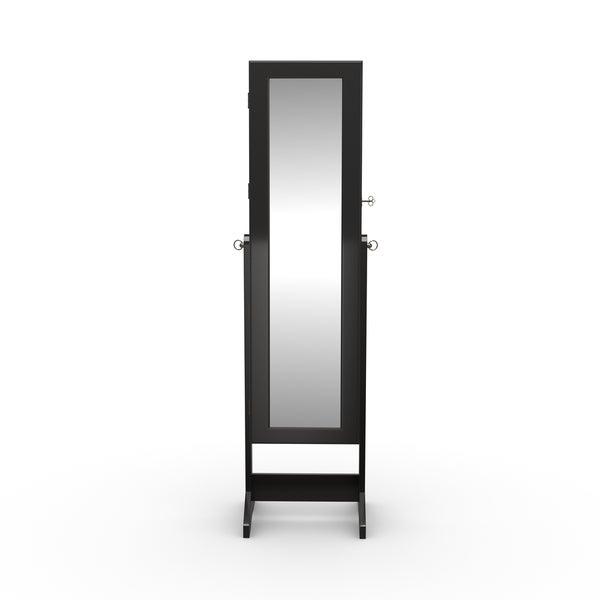 Shop Porch & Den Varet Black Freestanding Mirror Jewelry Armoire .