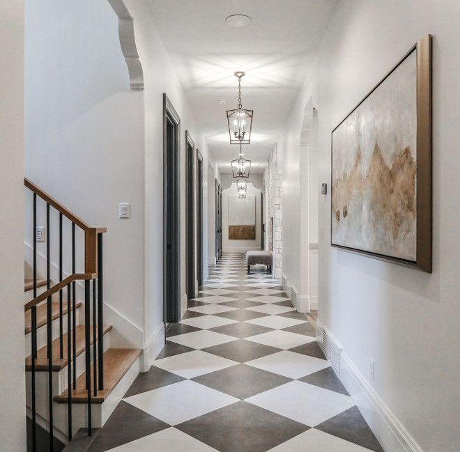grey and white Dal tile hallway-Modern French Chateau Style Custom .