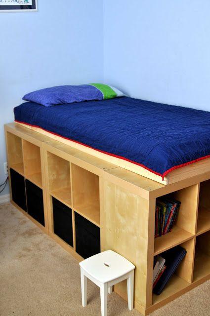 Expedit storage bed   Ikea bed, Bed storage, Diy b