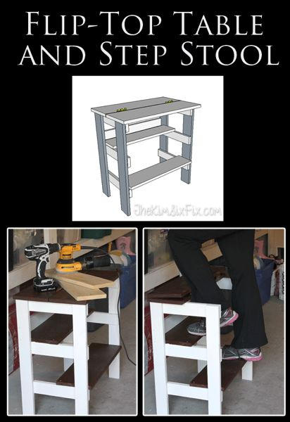 Hinged Top Table with Built in Step Stool   Step stool, Diy .