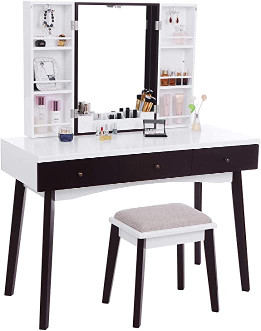 Amazon.com: BEWISHOME Vanity Set with Mirror, Cushioned Stool .