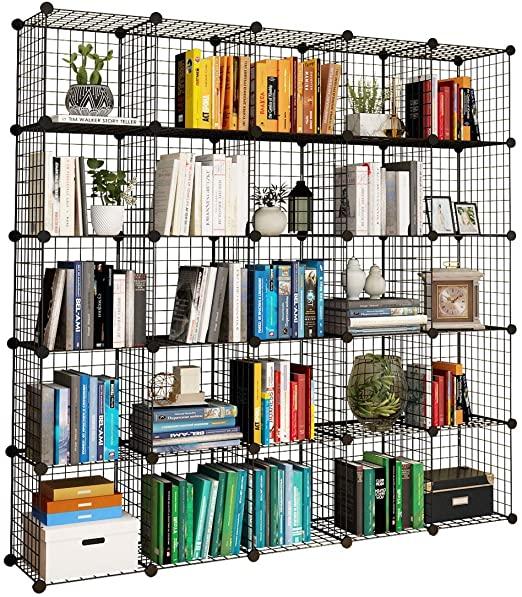 """Amazon.com: KOUSI 14""""x14"""" Wire Cube Storage, Metal Grid Organizer ."""