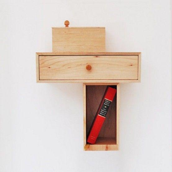 Functional Small Nightstand Of Maple Wood (Dengan gamba
