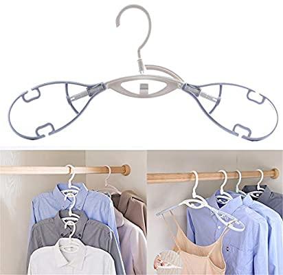 POOPOOAF 5pcs/set Plastic Clothes Hanger Non-Slip Stacked Hook .
