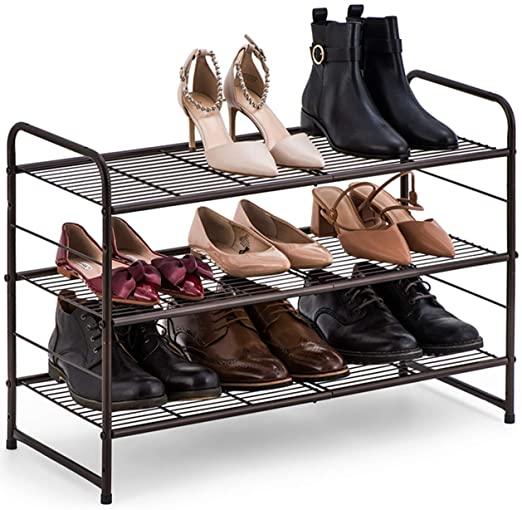 Amazon.com: Auledio 3-Tier Shoe Rack, Stackable and Adjustable .