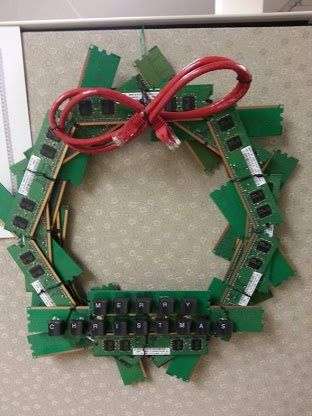 The Ultimate Holiday Wreath for IT Geeks [Pic] | Christmas wreaths .