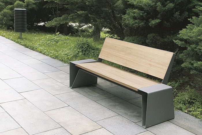 S. bench - contemporary outdoor bench in wood and metal for public .