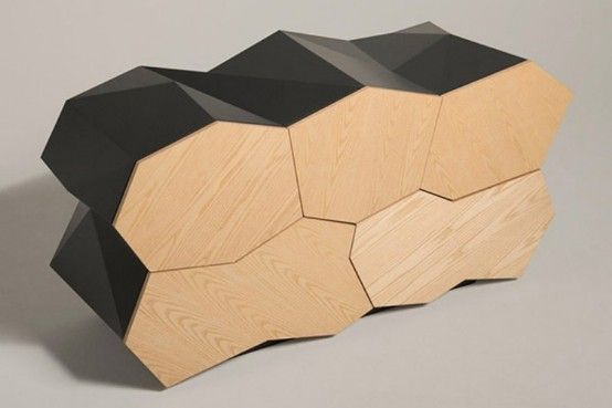 Futuristic Cabinet Of Walnut With Geometrical Lines | Jack frost .