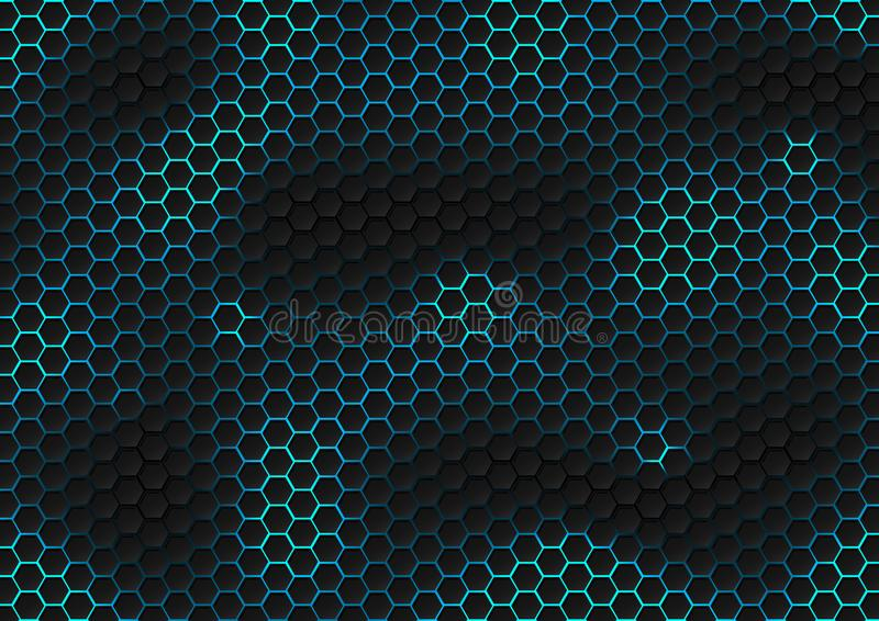 Abstract Black Hexagon Pattern Of Futuristic Texture With Blue .