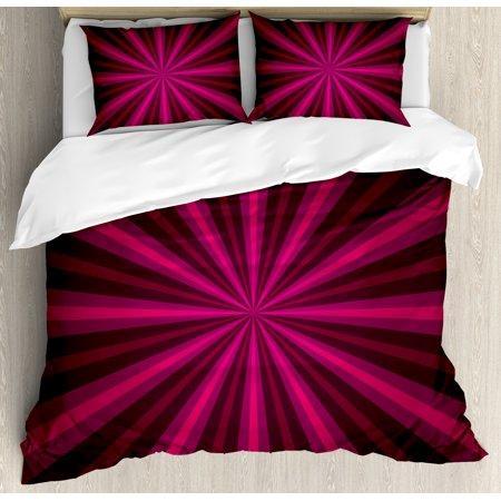 Hot Pink Duvet Cover Set, Abstract Starburst Design Radial Lines .