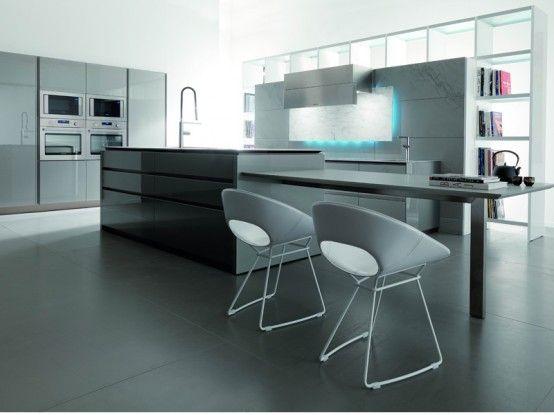 Italian Futuristic Kitchen Design With LED Lights | Modern kitchen .