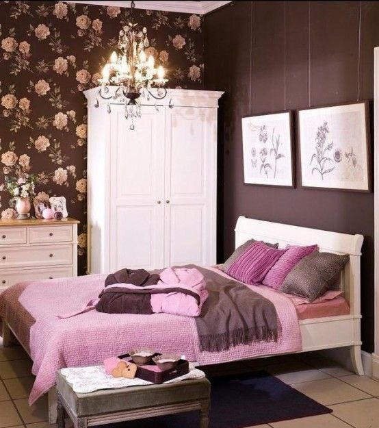 Girlish Pink And Chocolate Bedroom Design   Bedroom interior .