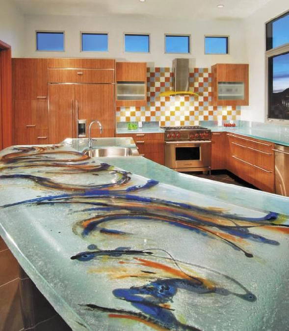 Glass Tops for Cool and Unusual Kitchen Designs from ThinkGlass .