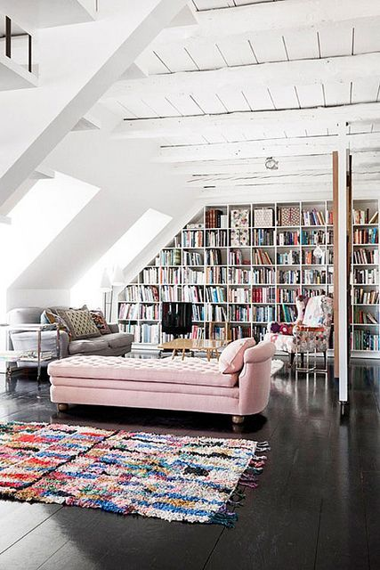 Put your feet up...in an attic style library with lots of light .