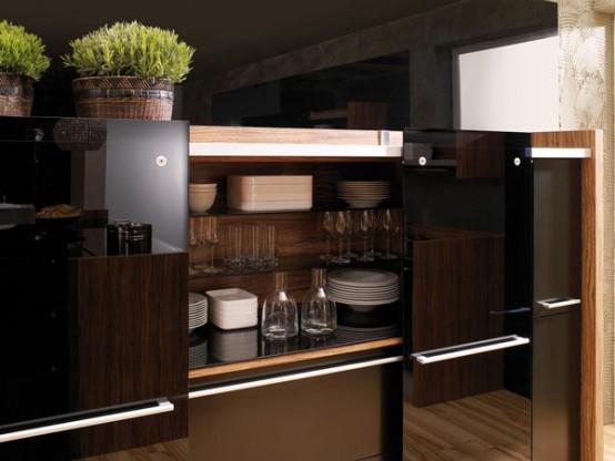 gloss lacquer with Natural Wood Design Kitchen - Vitrea Bra