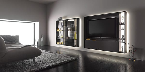 Glowing Storage: The Bookless Shelf System by Interlub