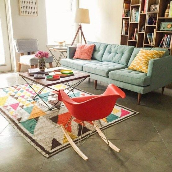 Gorgeous Airy Mid Century Modern Living Rooms 2 554x554 .