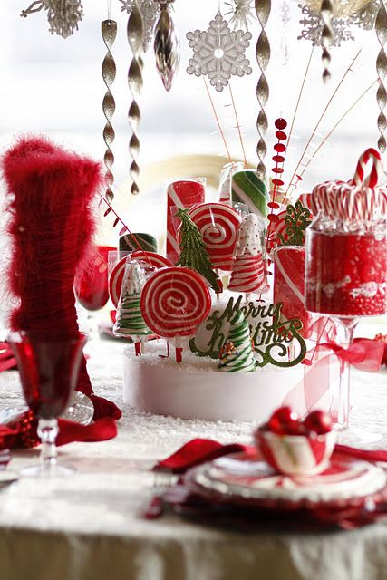 Mrs. Claus' Candy Table | Christmas centerpieces, Diy christmas .