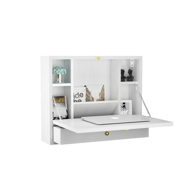 Wall Mounted Folding Laptop Desk Hideaway Storage with Drawer .