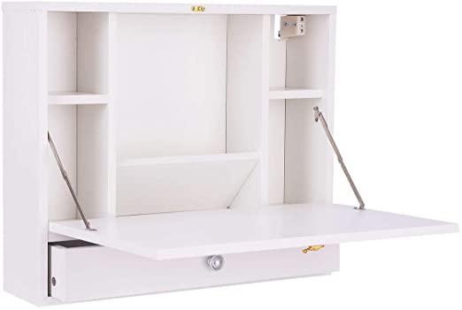 "Amazon.com: White 23.5"" Foldable Wall Mounted Hideaway Laptop Desk ."