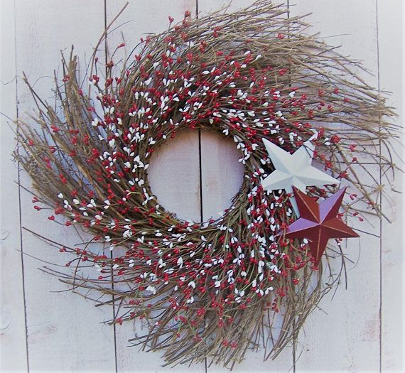 Spring Wreath-REMOVABLE STARS BERRY Wreath Door Decor-Spring Front .