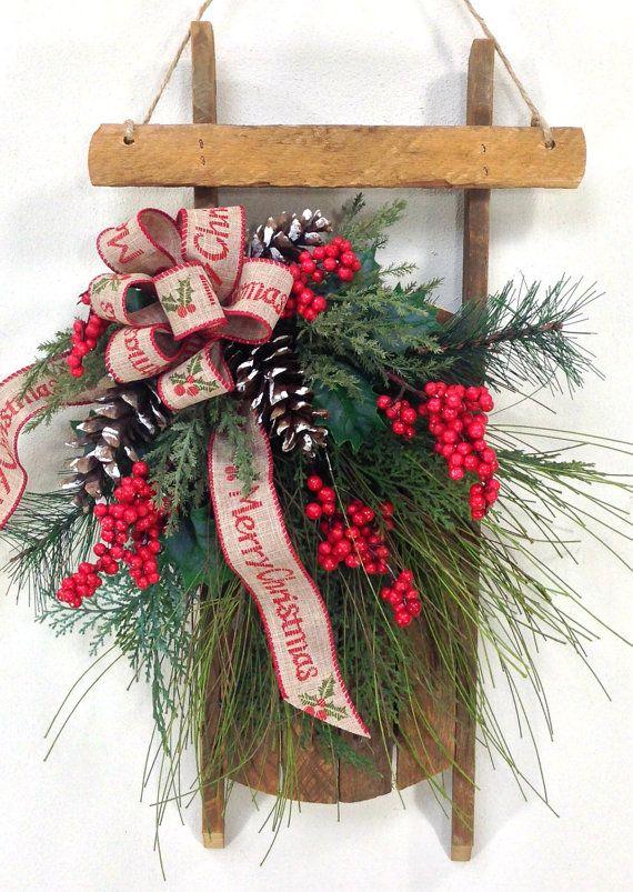 Christmas Wreath, Sled Wreath, Holiday Wreath, Holiday Door Decor .