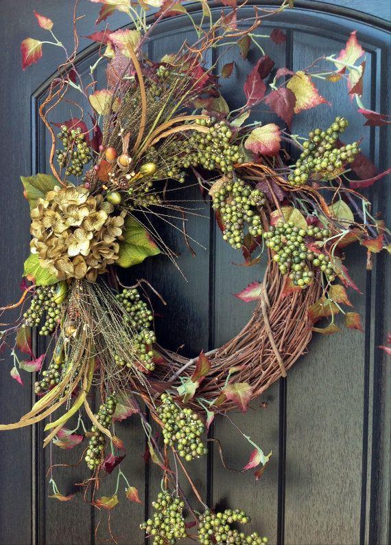 Fall Wreath-Autumn Wreath Berry-Twig-Holiday Wreath- Grapevine .