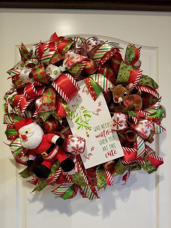 Christmas Wreath Singing Reindeer Wreath Front Door Wreath | Etsy .