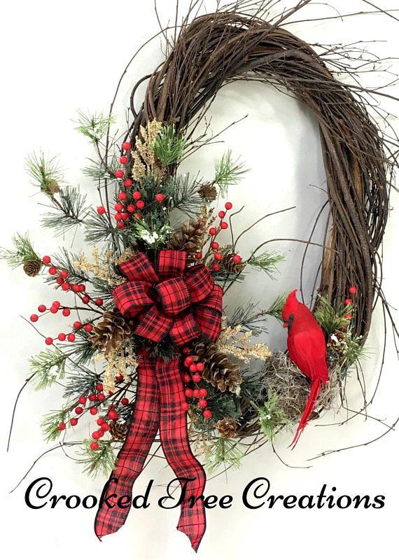 Cardinal Wreath, Christmas Wreath, Holiday Wreath, Holiday Door .