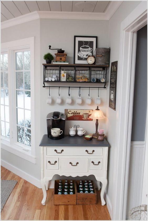 DIY Home Coffee Bar - Kitchen Organization and Storage Ideas .