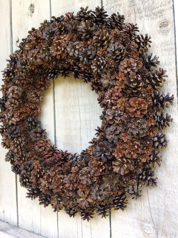 Classic Pinecone Wreath | Rustic wreath, Pinecone wreath, Natural .