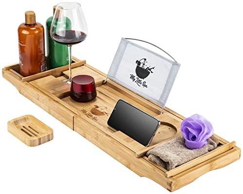 Amazon.com: My Little Spa Bamboo Bathtub Caddy/Tray - Wooden Bath .