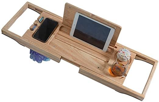 Amazon.com: WSJTT Bamboo Bathtub Caddy/Tray - Wooden Bath Reading .