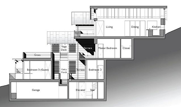 The Architect » split level house built on steep slope .