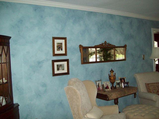 Cloudy faux finish | Blue walls, Glazed walls, Faux paint finish