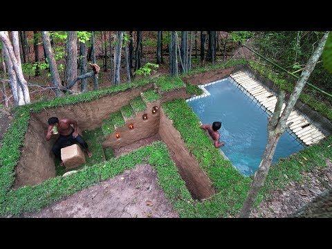 Building Secret Ancient Underground House And Impressive Swimming .