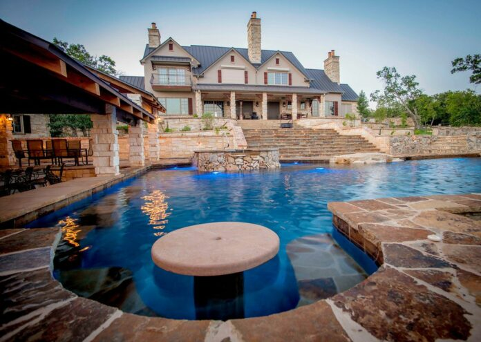 Cascade Swimming Pool Designs with an Impressive Home · Wow Dec