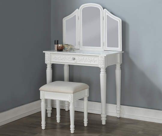 Just Home White Vanity Set with Trifold Mirror - Big Lots | White .