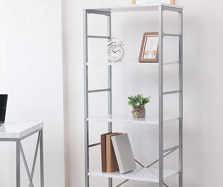 Just Home White & Silver Faux Marble 5-Shelf Bookcase - Big Lots .