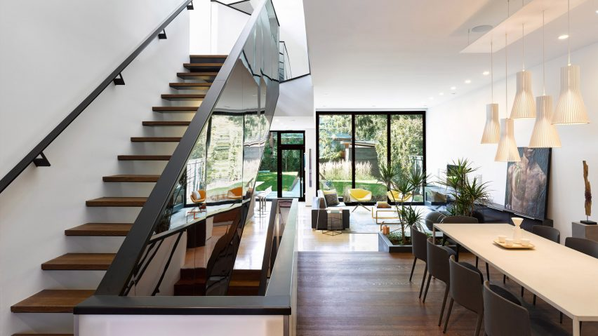 Mirrored staircase features in Kaleidoscope House by Paul Raff Stud
