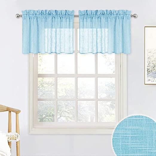 Amazon.com: RYB HOME Decor Sheer Valance Linen Texture Wave .