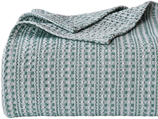 Amazon.com: PHF Cotton Waffle Blanket Yarn Dyed Weave Bed Texture .
