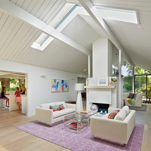 Vaulted Ceiling With Skylights Living Room Ideas & Photos   Hou