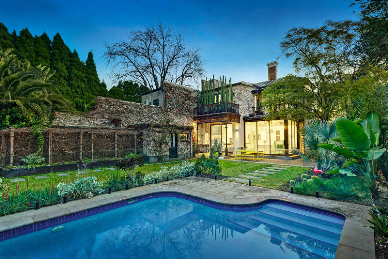 Large Swimming Pool Manicured Lawn Greeneries Flowers Trees .
