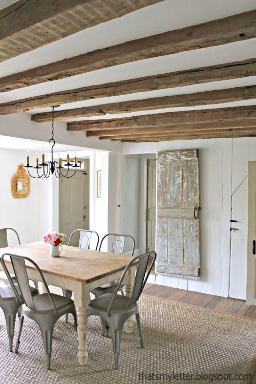primitive home with exposed wood beam ceilings | Home, Home decor .