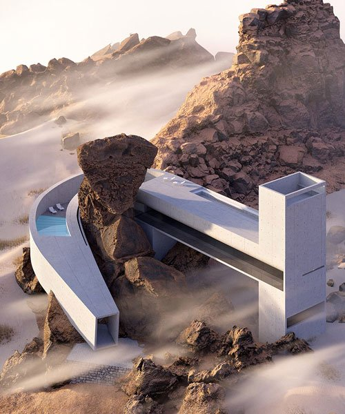 a monolithic concrete volume winds around natural rock for 'house .