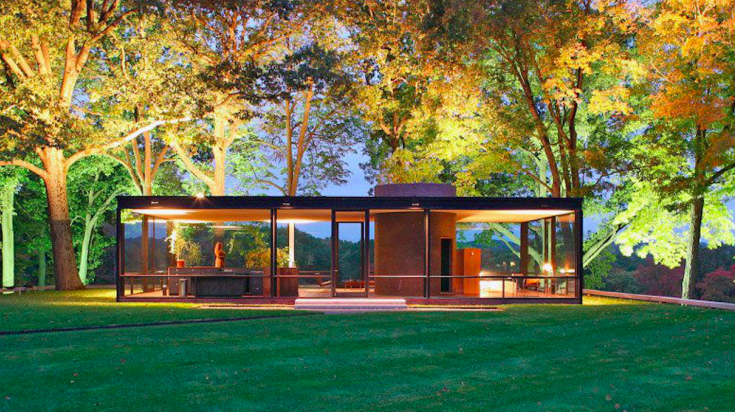 The Glass House, by Philip Johnson, in the forests of Connecticut .