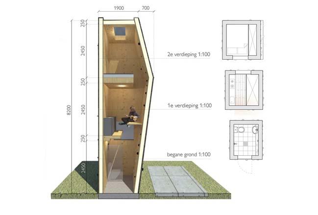 Tiny house concept by Jeanne Dekkers Architectu